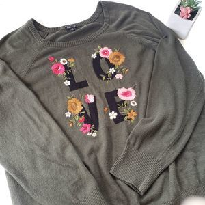 Torrid Embroidered Love Floral Olive Sweater | 2X